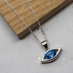 Handmade in Sterling Silver Blue Topaz Evil Eye Necklace