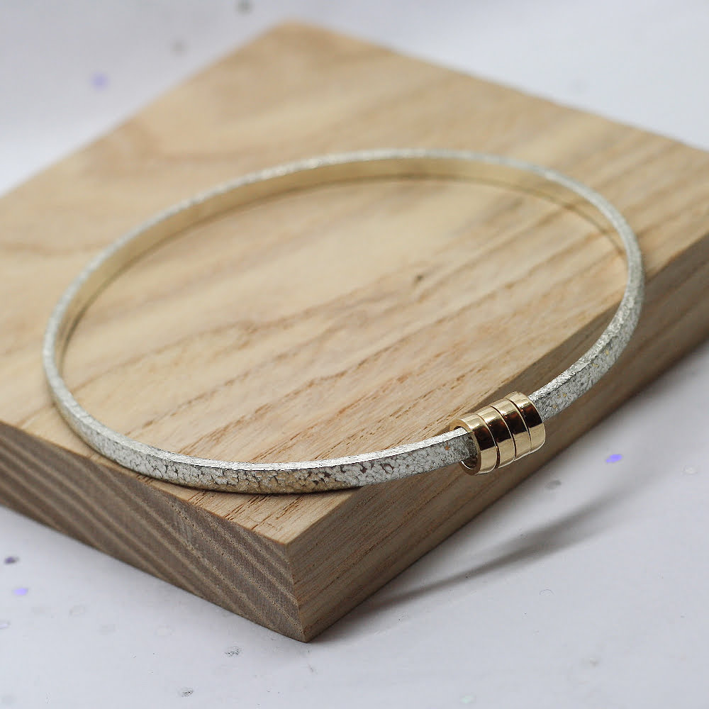 Handmade Textured Sterling Silver & 9ct Gold Halo Bangle