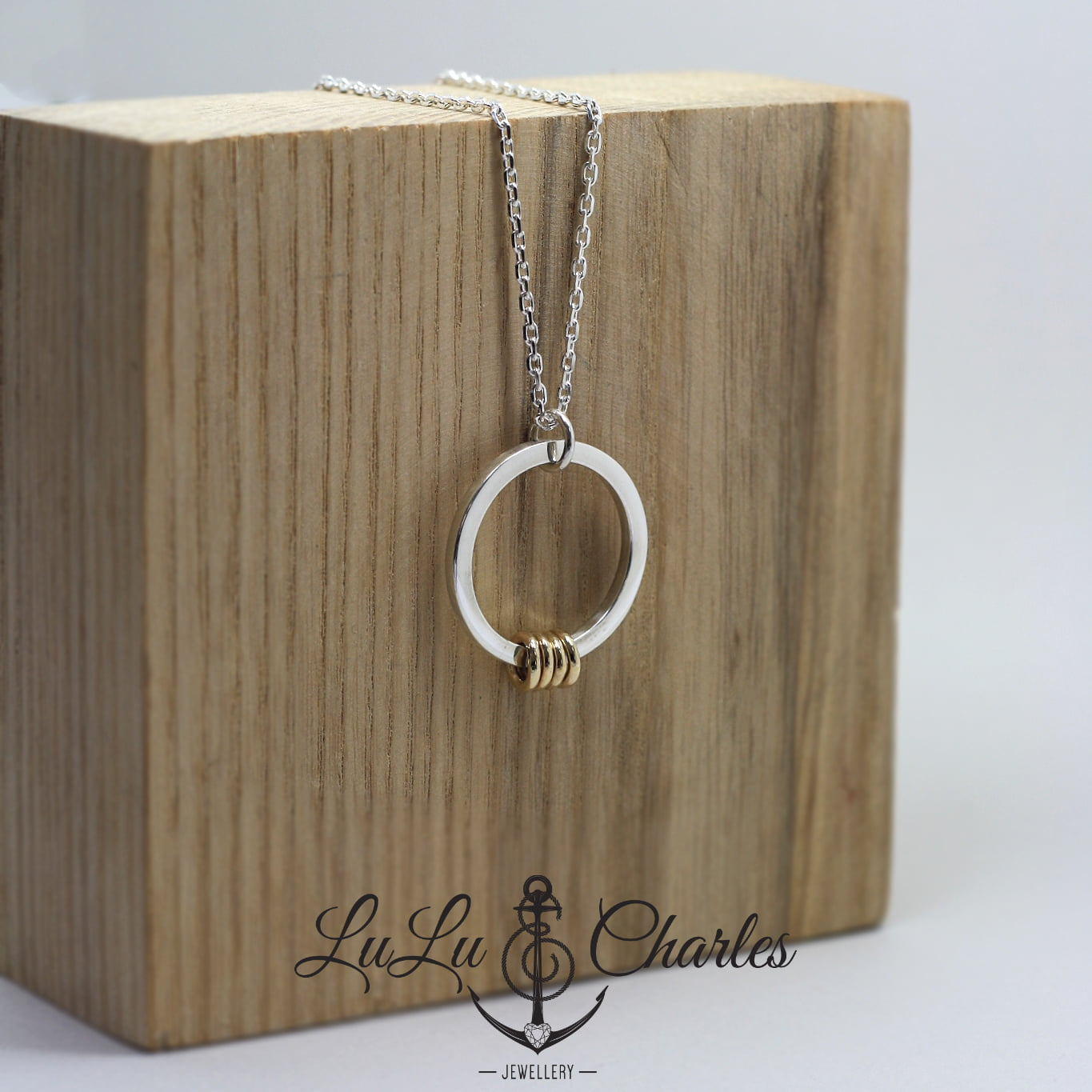 Handmade Sterling Silver & 9ct Yellow Gold Birthday Halo Necklace