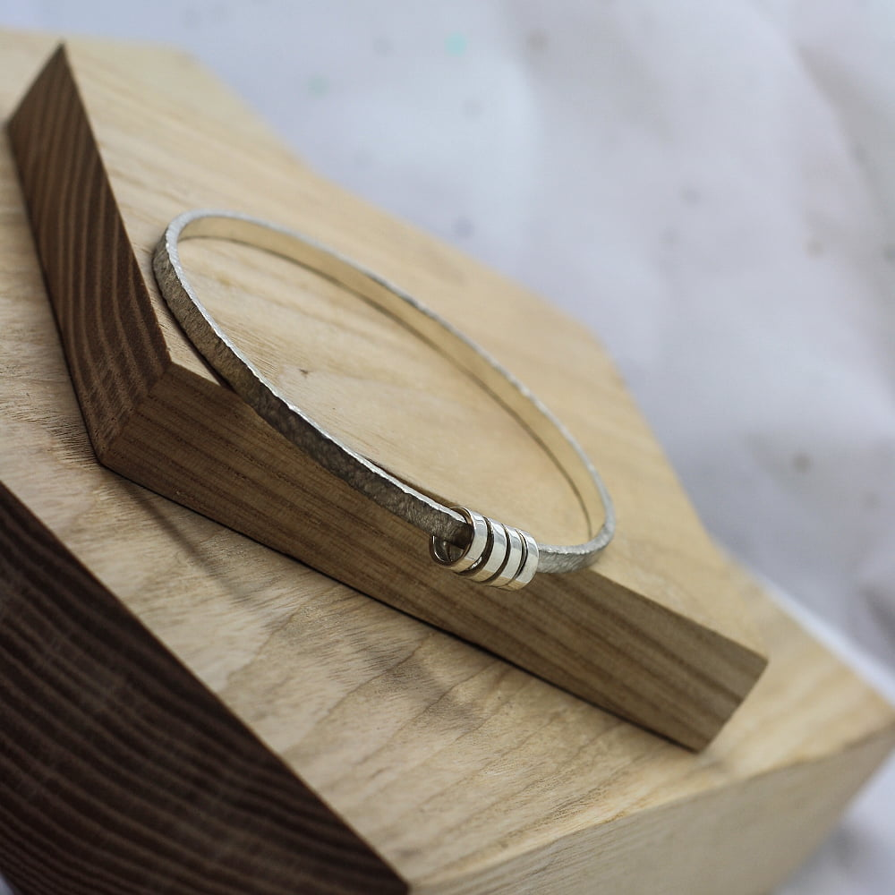 Handmade Textured Sterling Silver Halo Bangle
