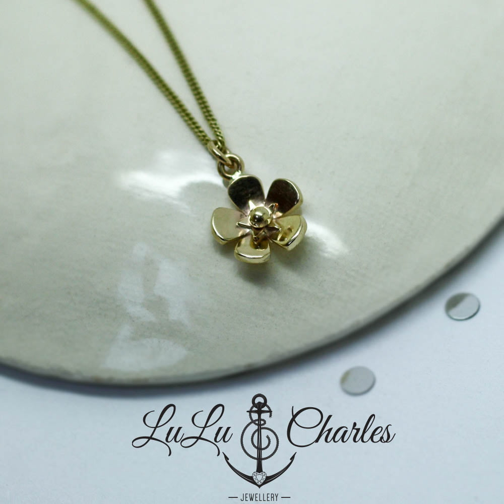 Handmade 9ct Yellow Gold Forget-me-not Necklace