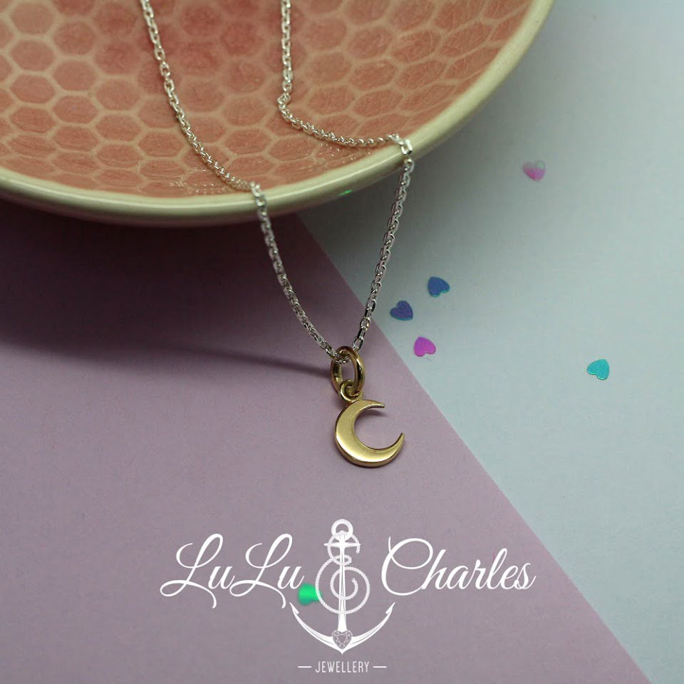 Handmade Solid 9ct Yellow Gold Crescent Moon Necklace