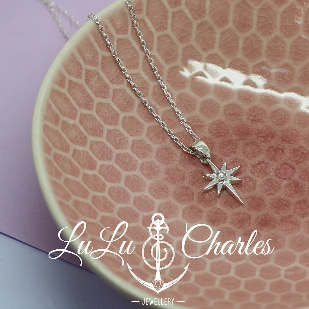Handmade Sterling Silver North Star Diamond Necklace