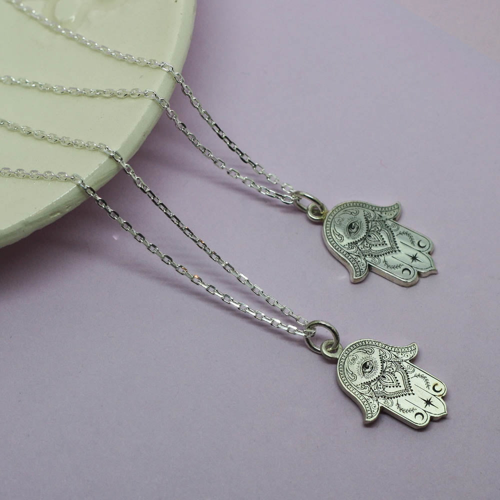 Handmade Sterling Silver Detailed Hand of Hamsa Necklace