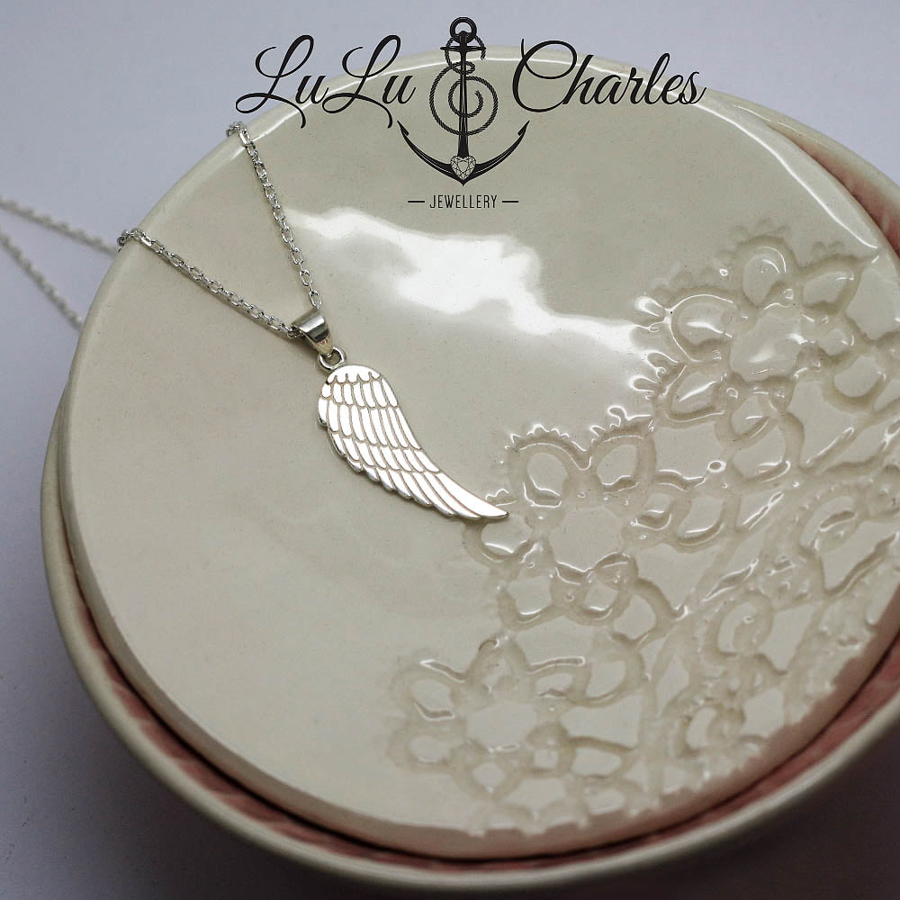 Sterling Silver Detailed Angel Wing Necklace