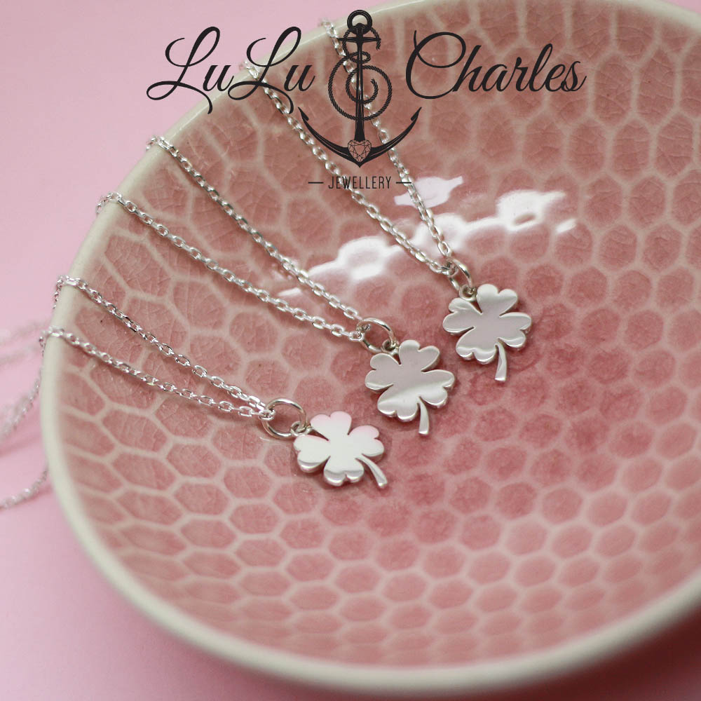 Lucky Four Leaf Clover Necklace, Handmade in Sterling Silver
