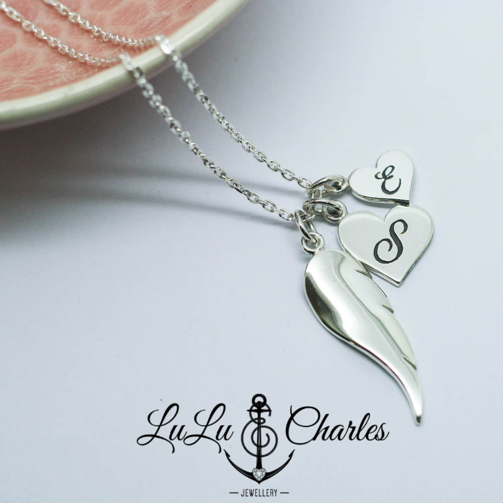 Handmade Sterling Silver Angel Wing Necklace with Personalised Heart Charms