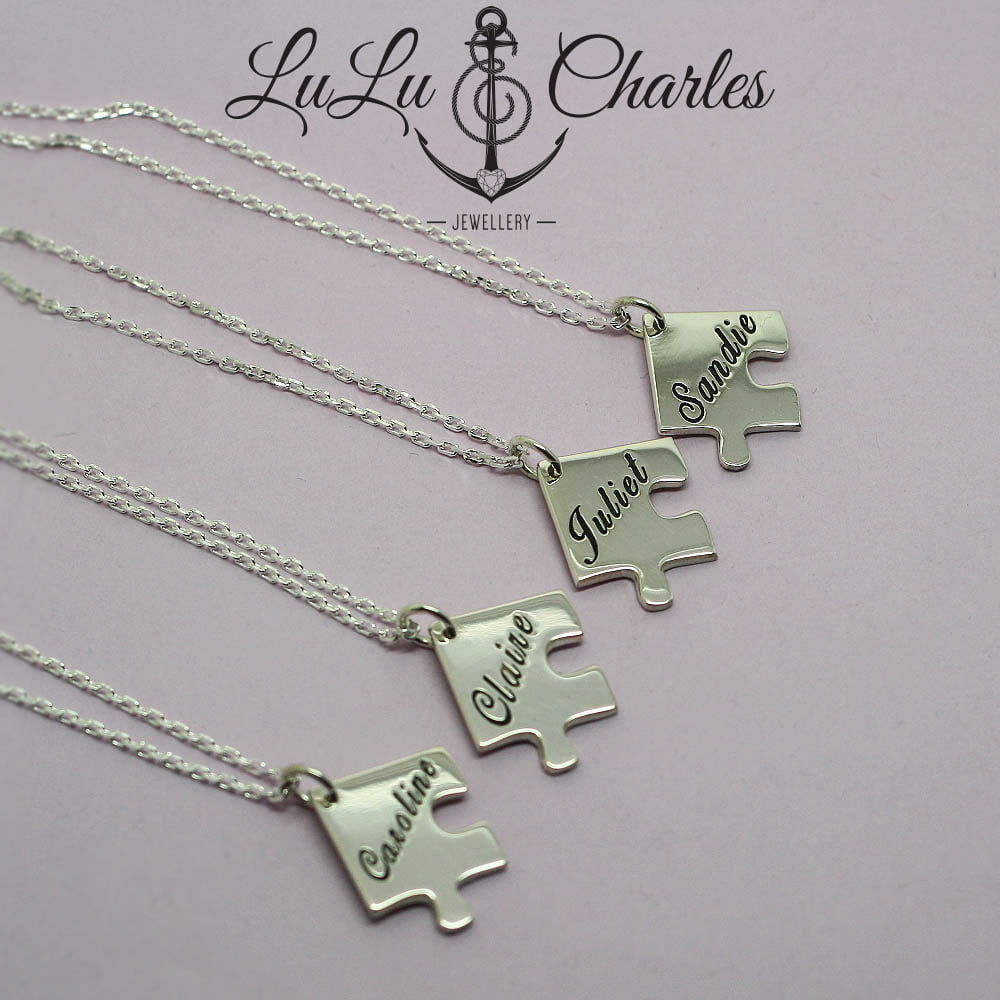 Handmade Sterling Silver Personalised Interlocking Jigsaw Necklace