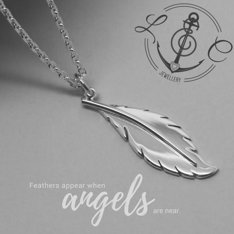 Handmade Feather Necklace in Sterling Silver & 9ct Gold