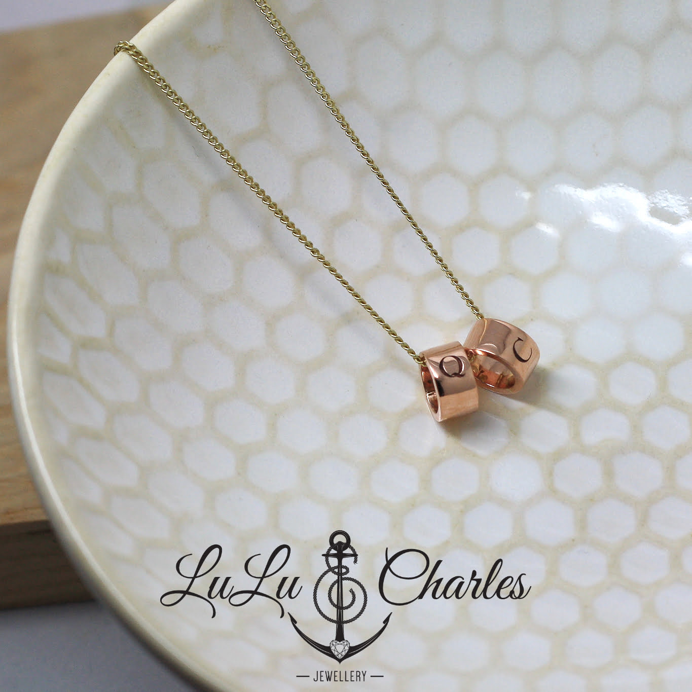 9ct Gold Personalised Double Halo Necklace