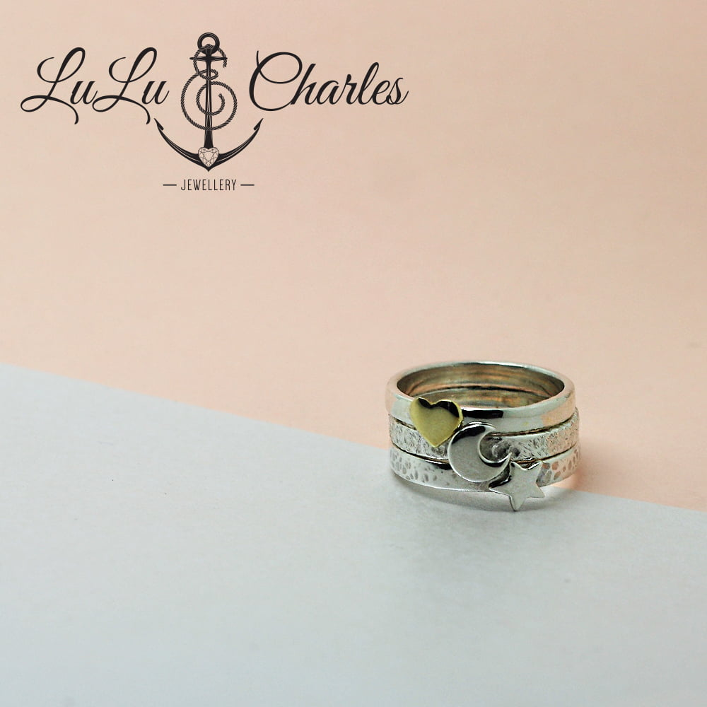 Love you to the Moon & Stars Stacker Ring, Handmade in Sterling Silver