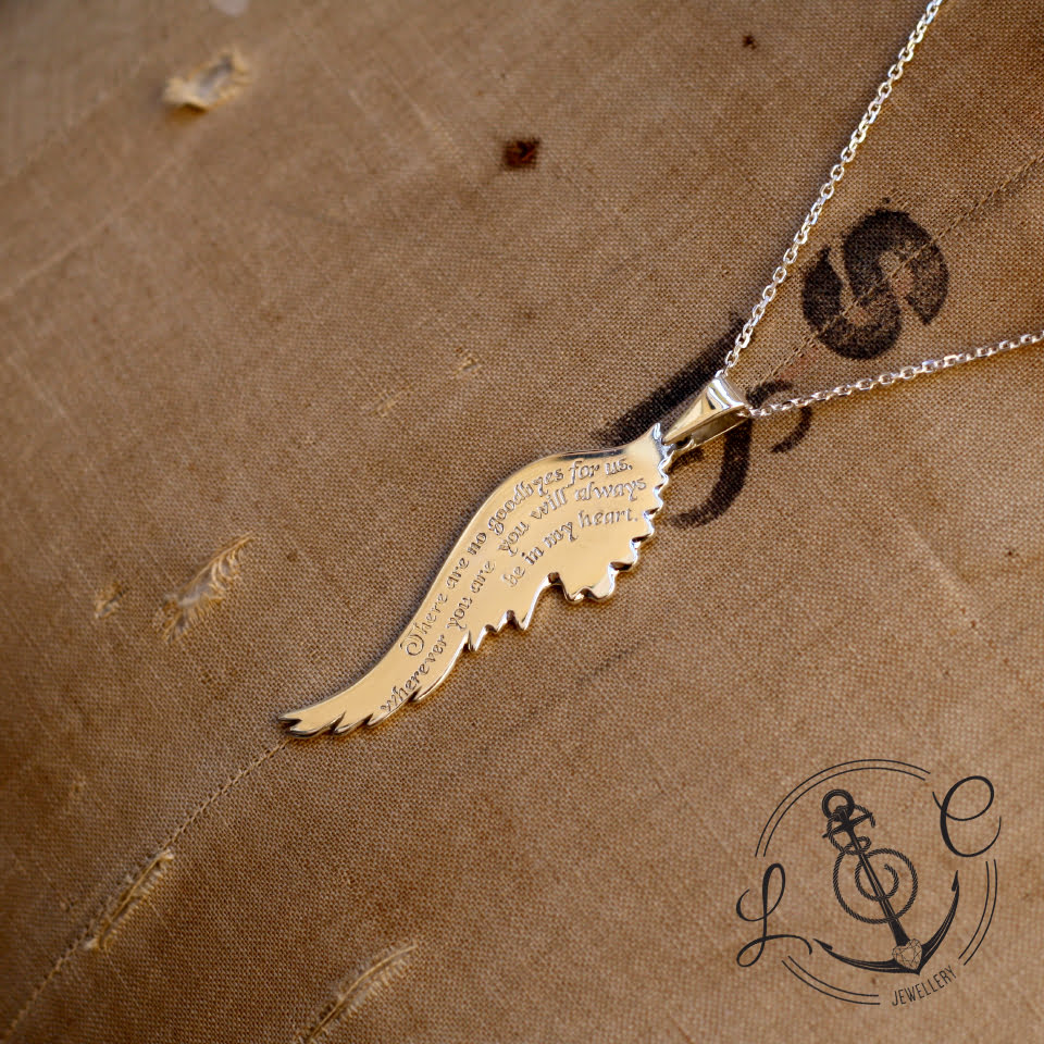 Handmade Silver Personalised Angel Wing Necklace