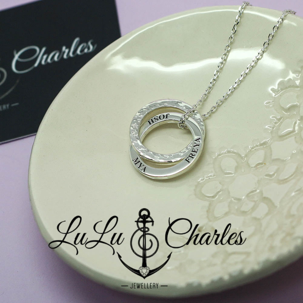 Handmade Sterling Silver Personalised Double Halo Necklace with Birthstone