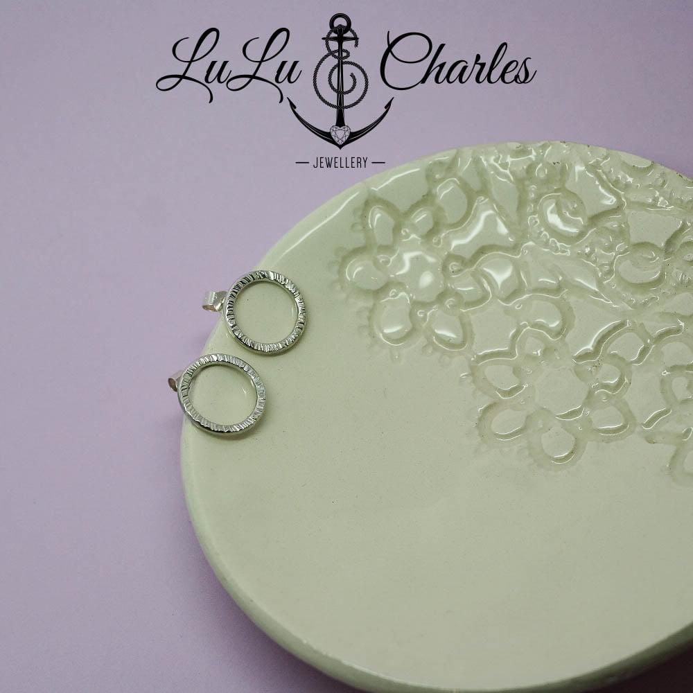 Handmade Textured Sterling Silver Halo Earrings