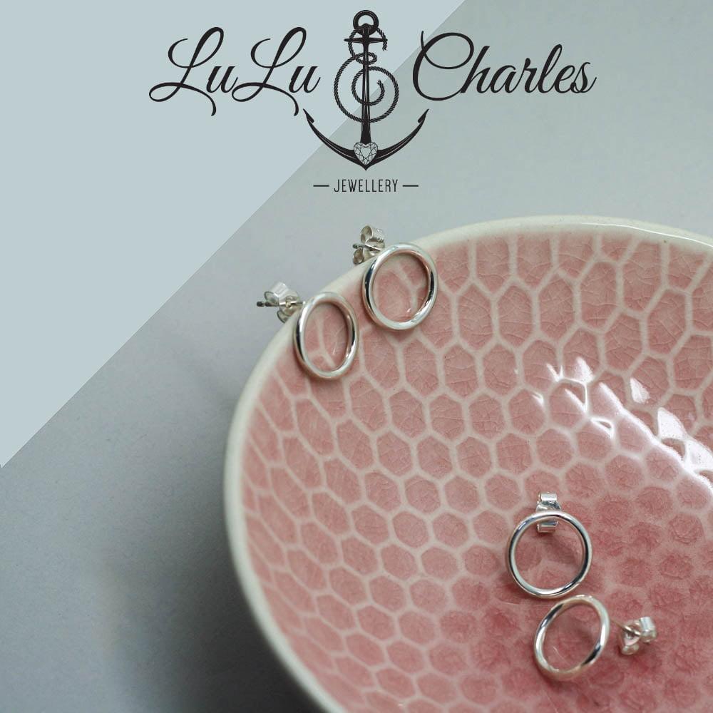 Handmade Sterling Silver Dainty Circle Stud Earrings