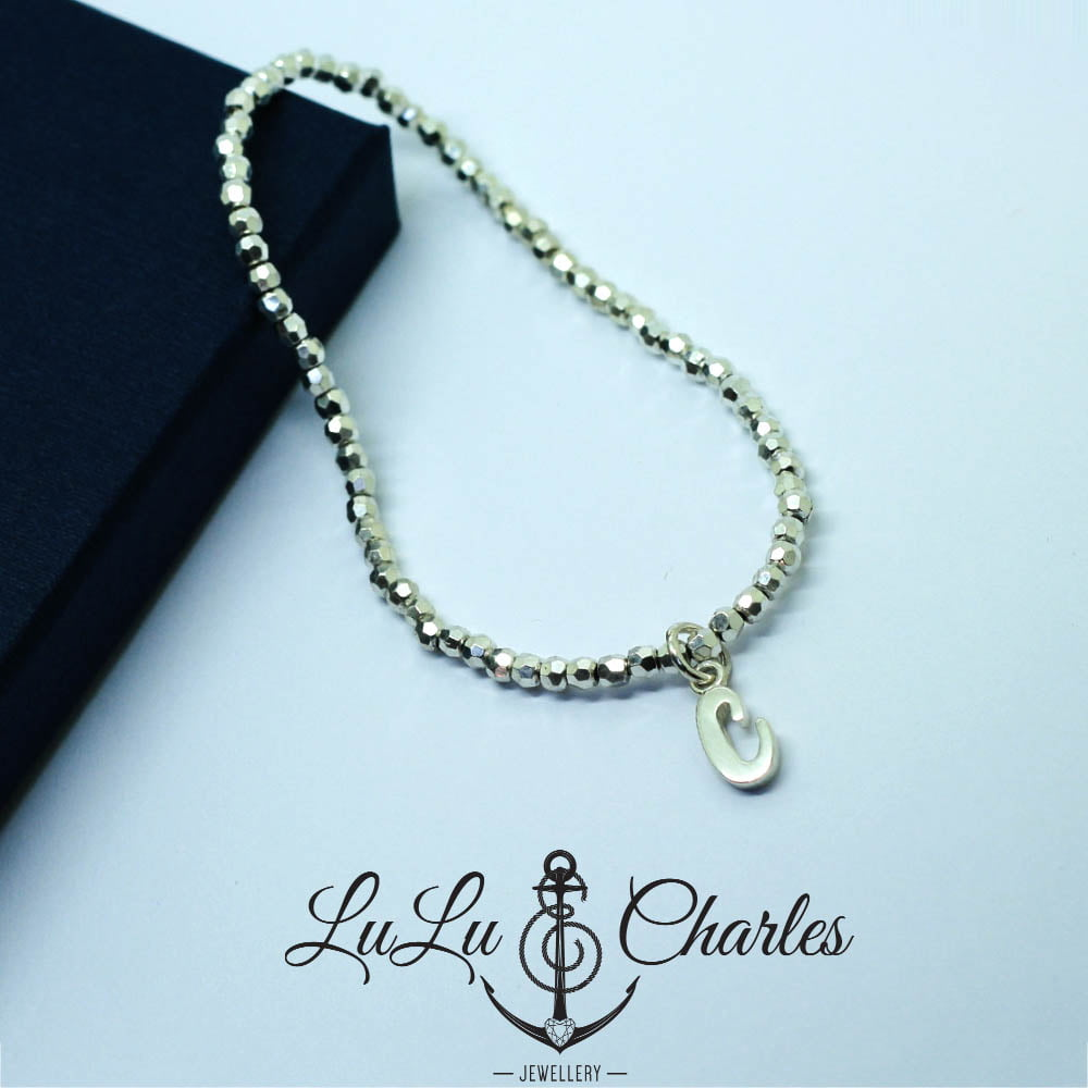Sterling Silver Stretch Bead Bracelet with Handmade Initial Charm