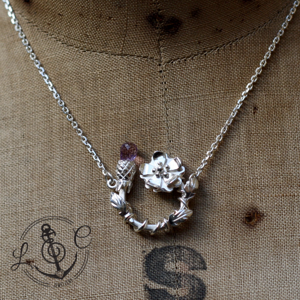 Handmade Sterling Silver Rose & Thistle Necklace with Amethyst