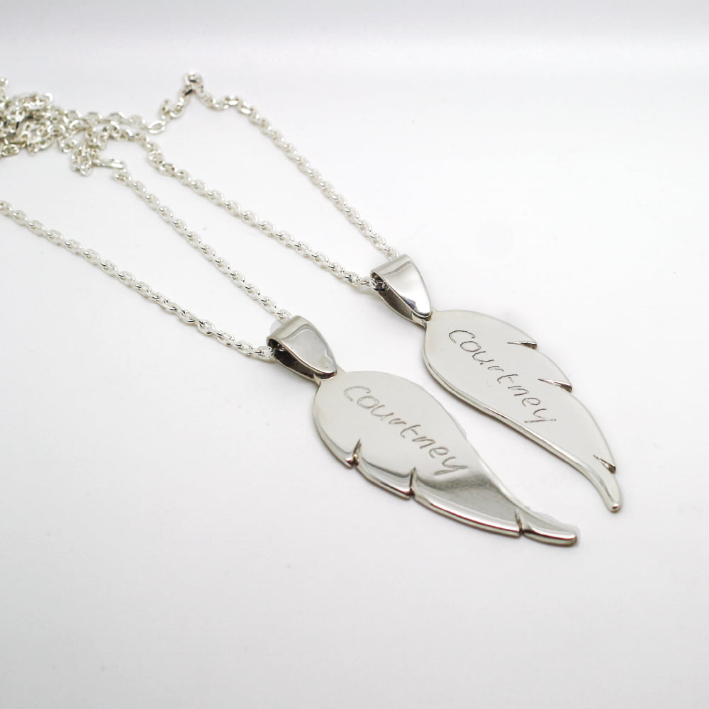 Silver Angel Wing, Personalised with Loved Ones Handwriting