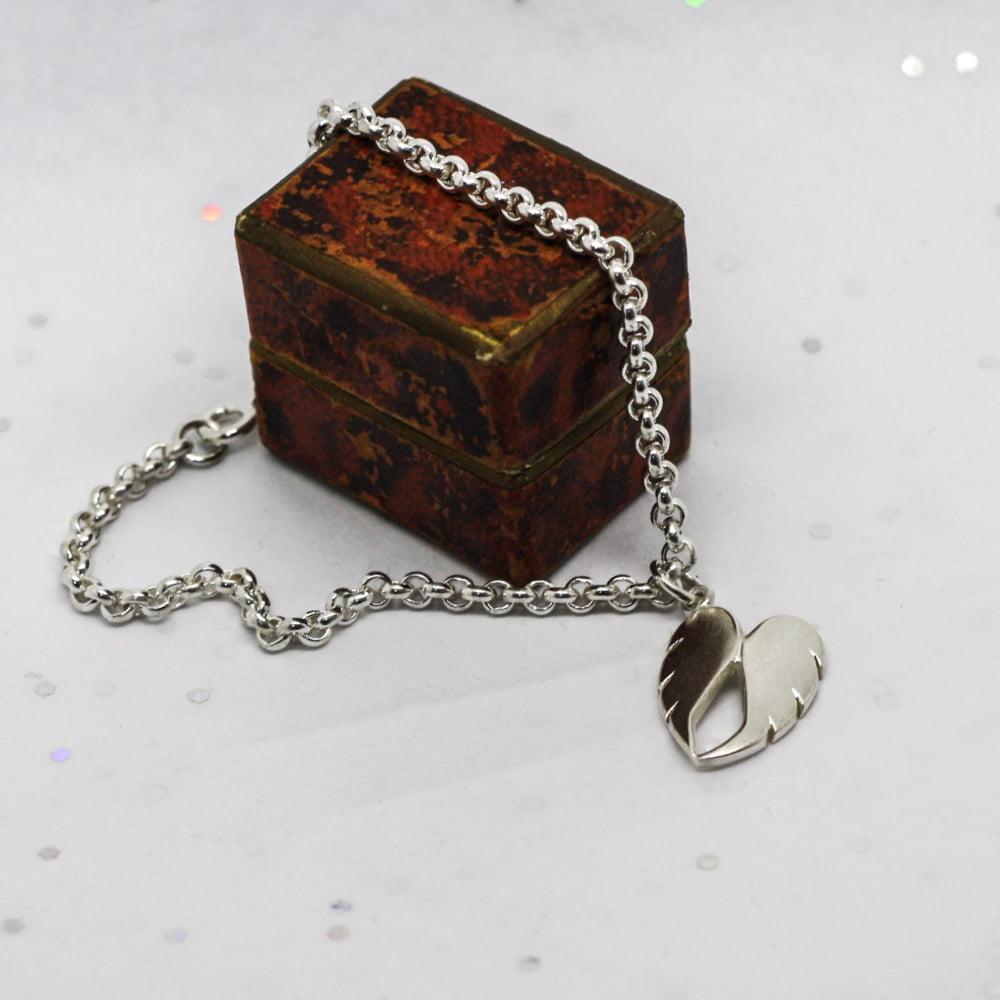 Handmade Sterling Silver Double Angel Wing Charm Bracelet