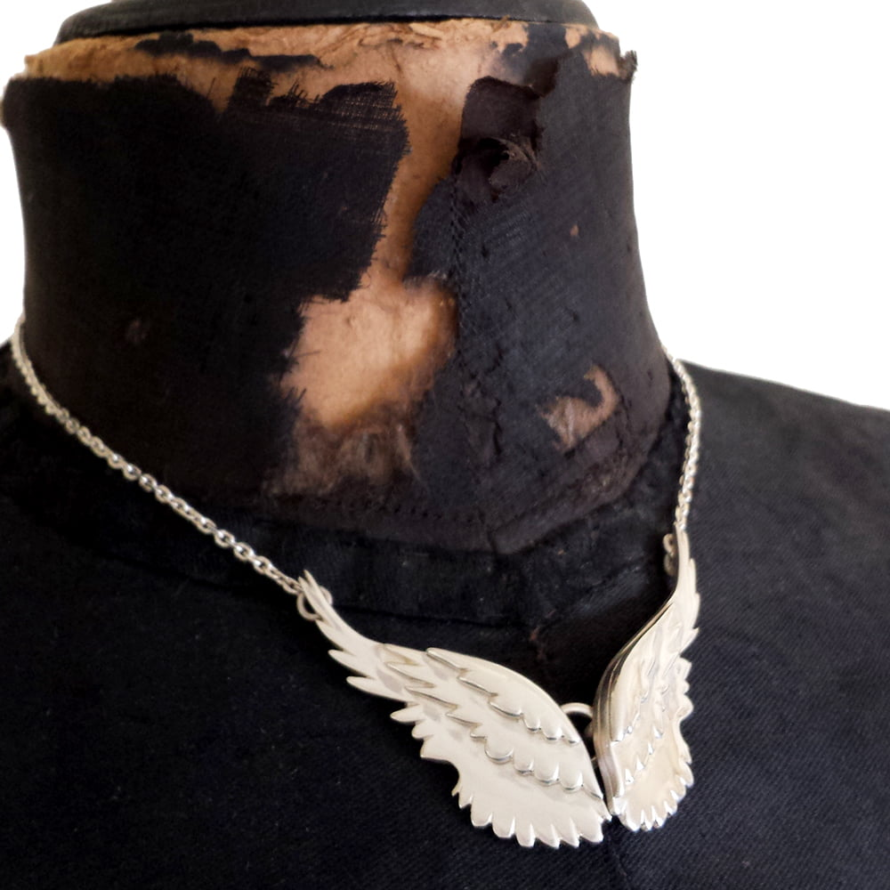 Pair of Layered Angel Wings Necklace, Handmade in Sterling Silver