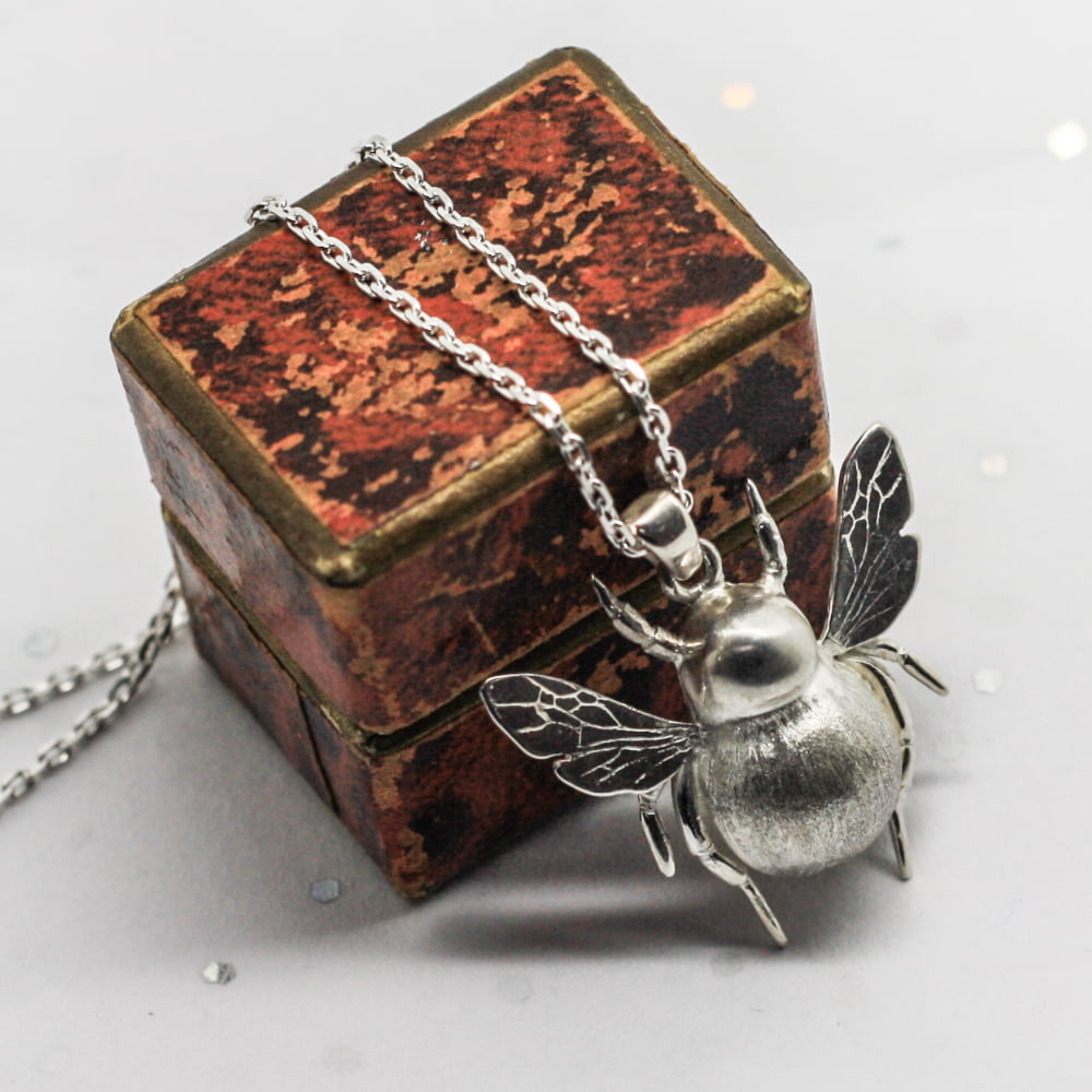 Large Handmade Sterling Silver Bumble Bee Pendant