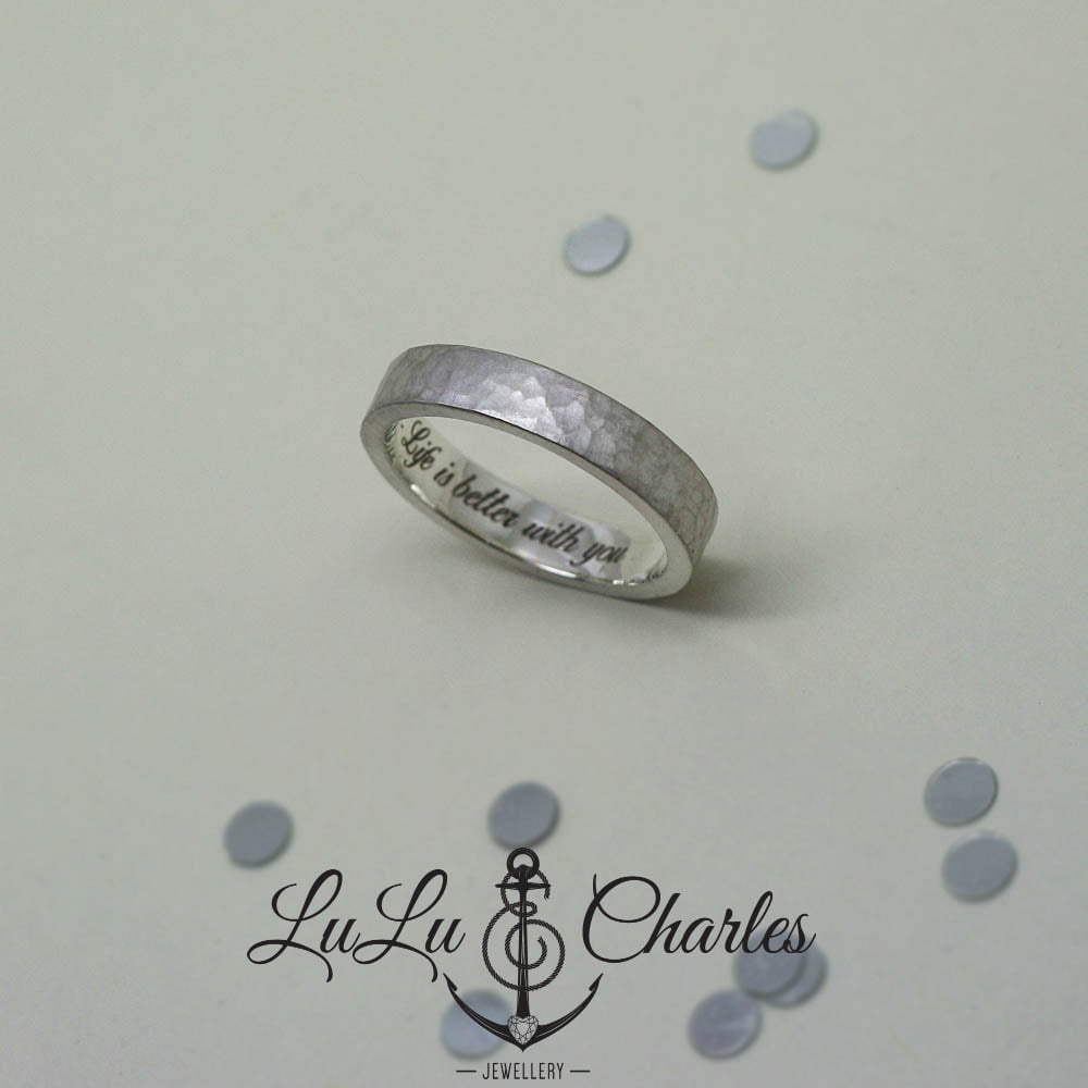 Personalised Cremation Ring, Handmade in Sterling Silver