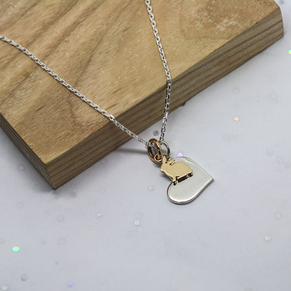 9ct Gold Bunny Charm & Silver Heart Necklace