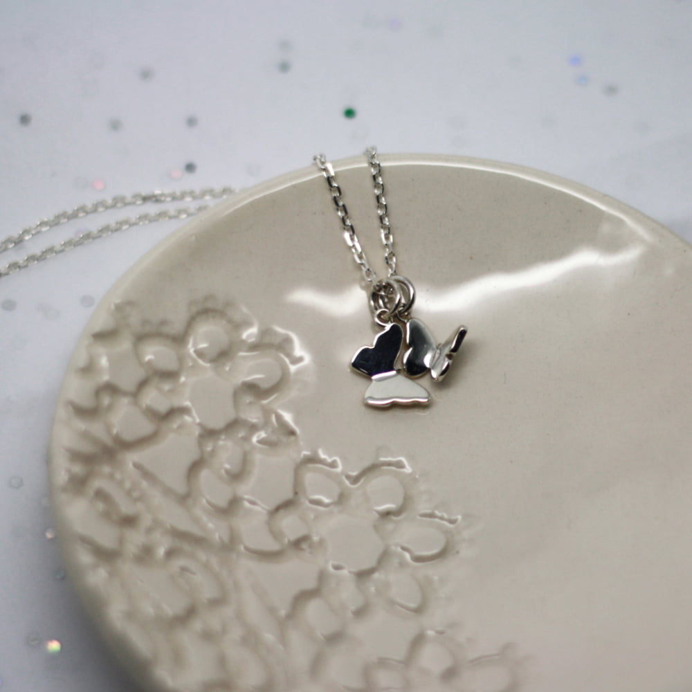 Handmade Sterling Silver Double Butterfly Charm Necklace