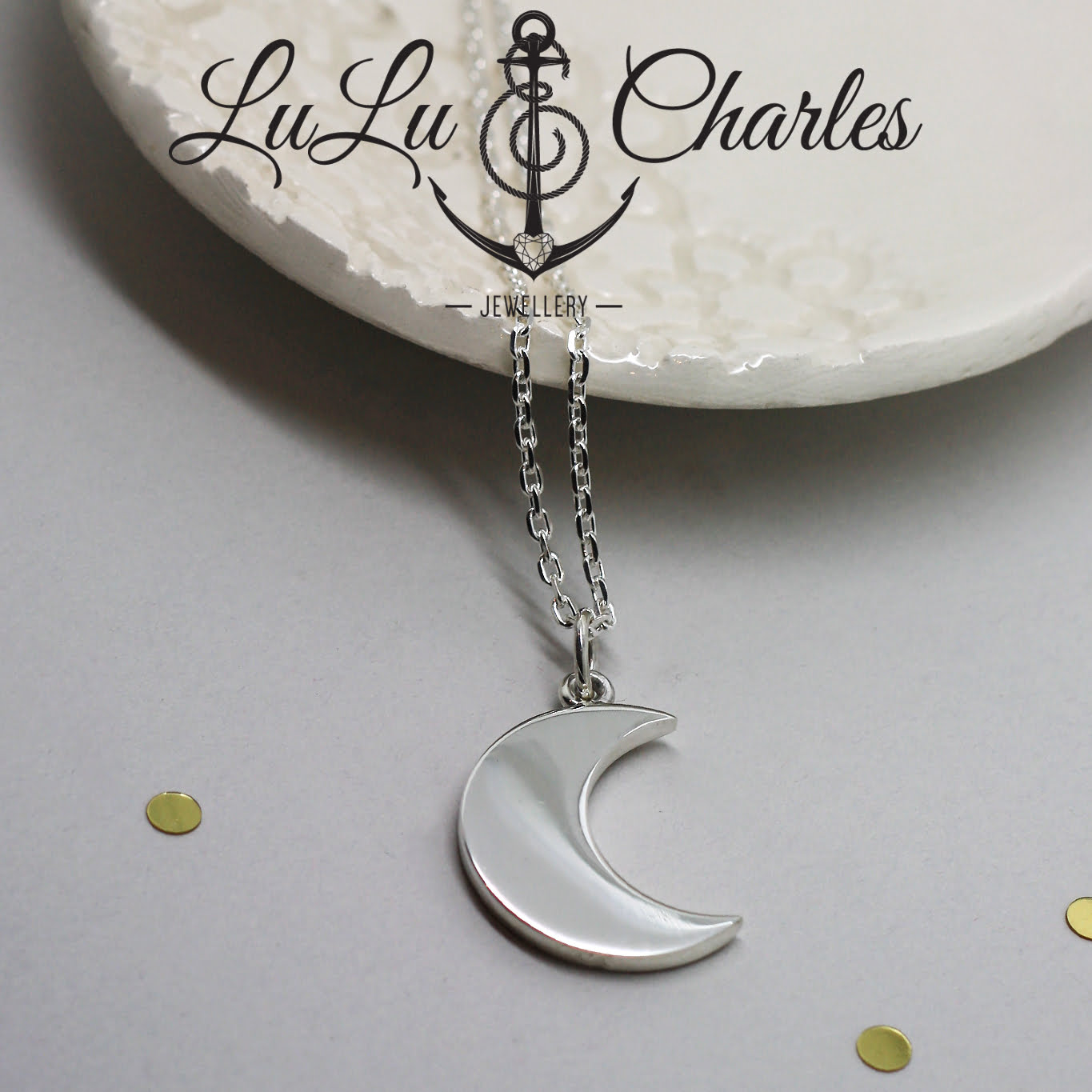 Large Chunky Crescent Moon Necklace, handmade in Sterling Silver