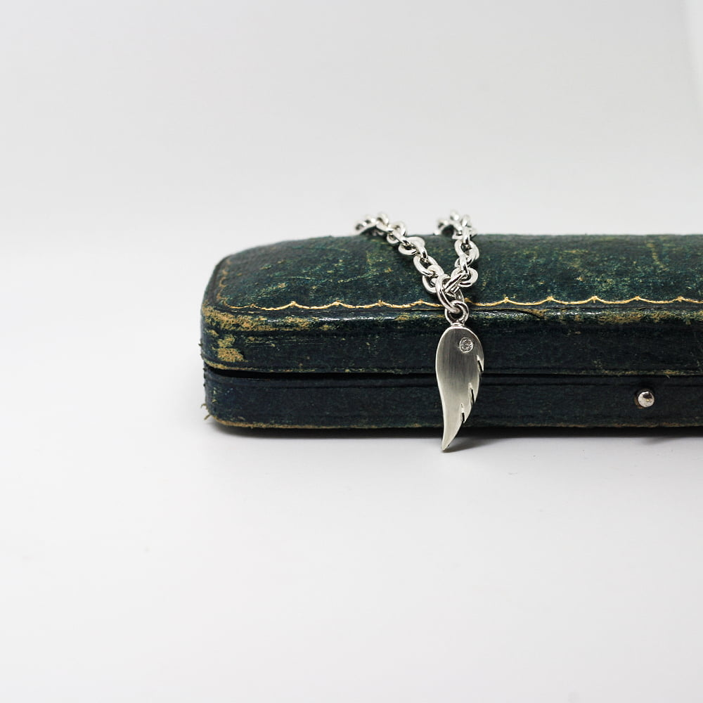 Handmade Silver, Diamond Set Angel Wing Charm Bracelet