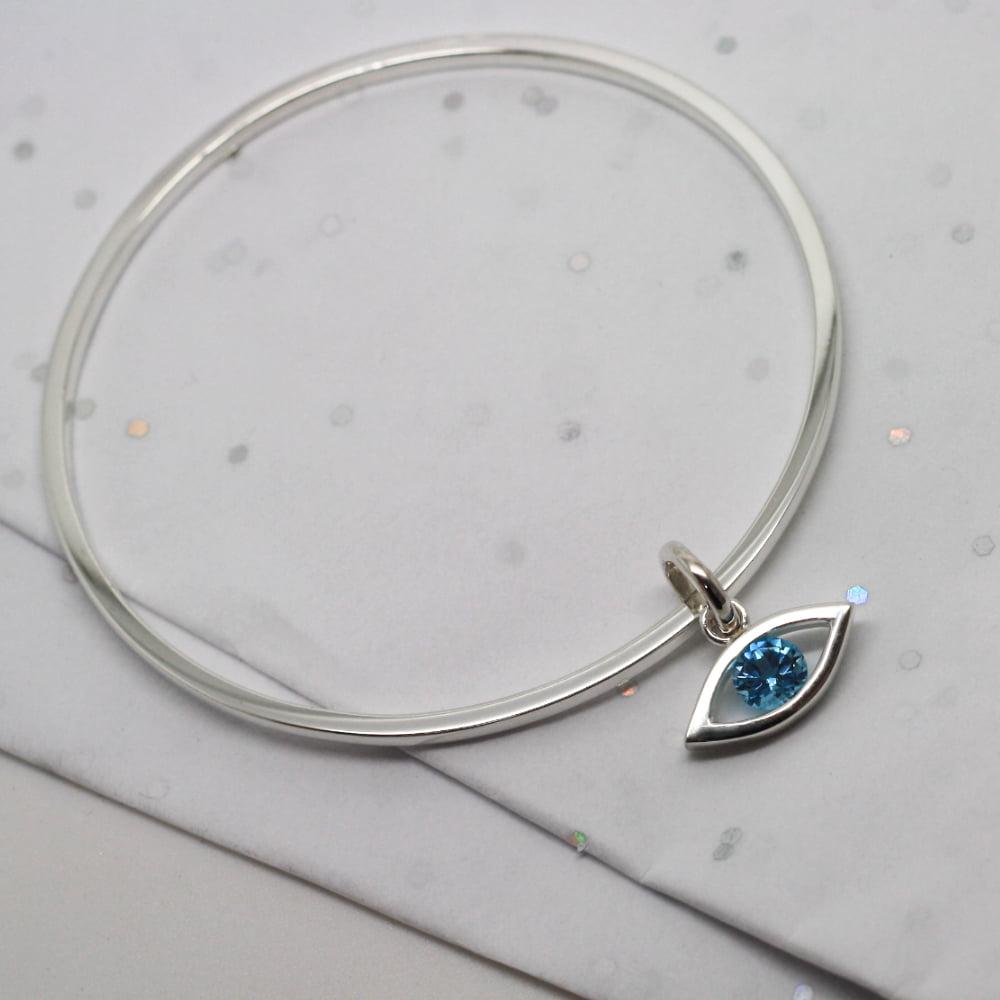 Handmade Silver Bangle & Evil Eye Charm, with Blue Topaz