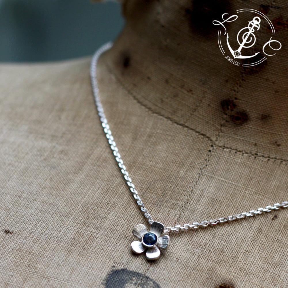 Blue Sapphire September Birthstone Flower Necklace, Handmade in Sterling Silver