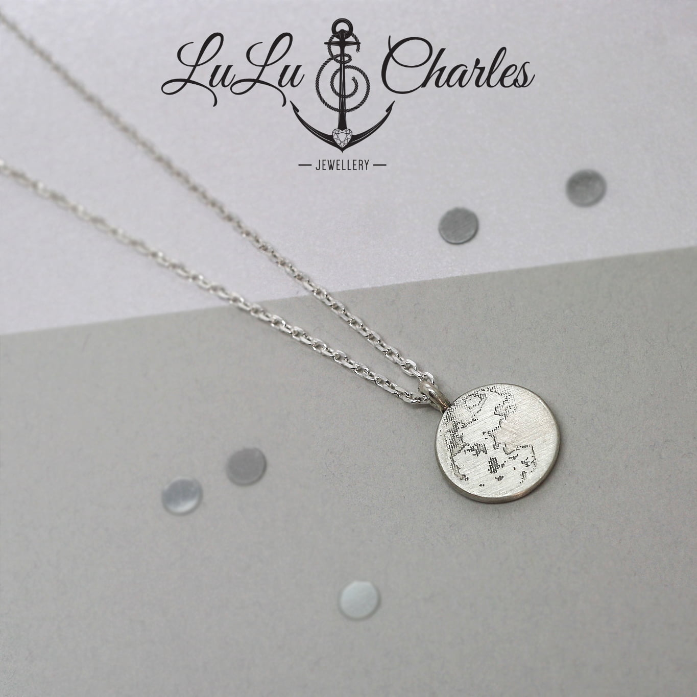 Handmade Sterling Silver, Full Moon Wish Charm Necklace