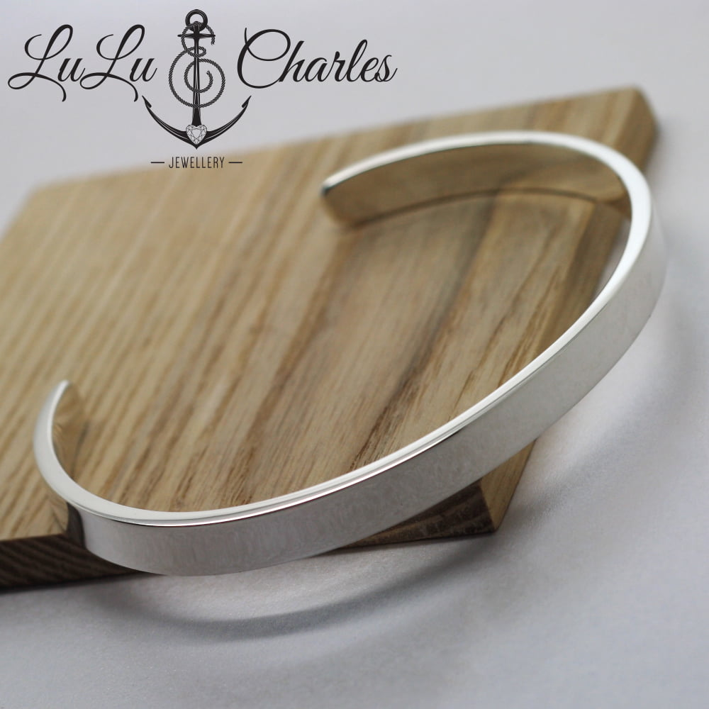 Mens Sterling Silver Personalised Cuff Bangle