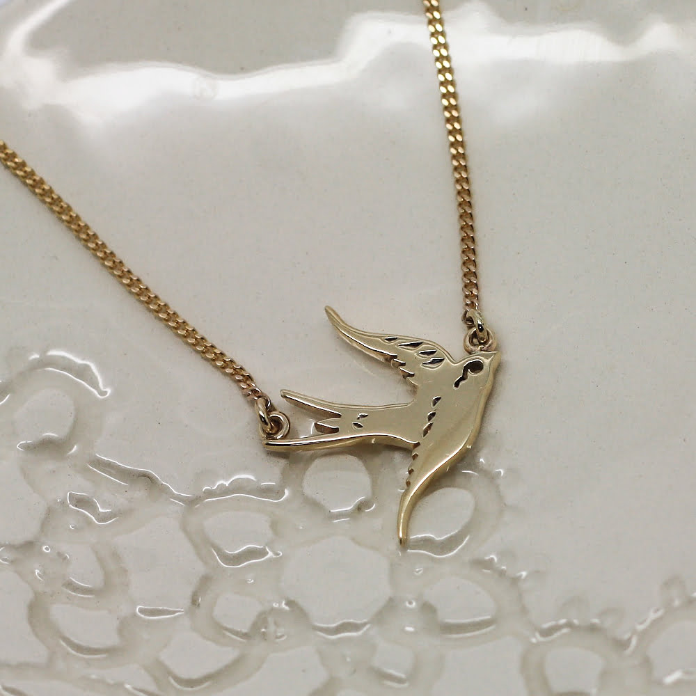 9ct Gold Handmade Swallow Necklace