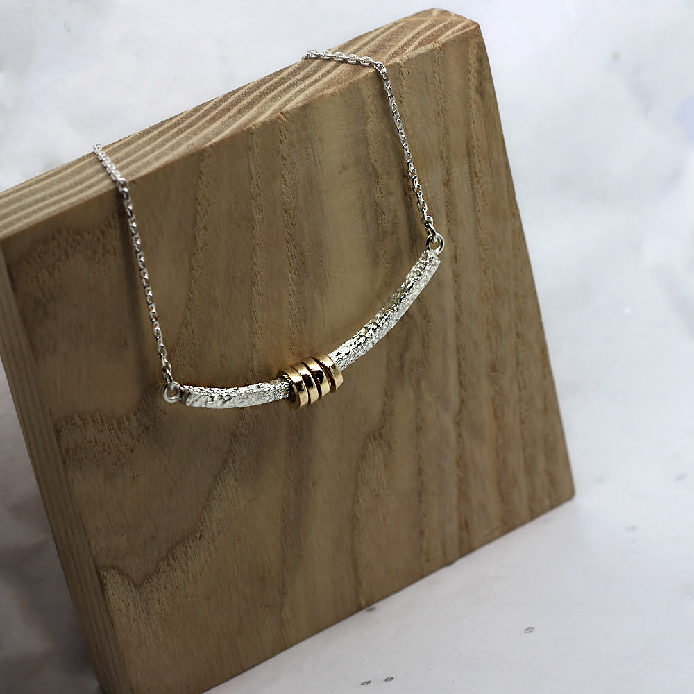 Handmade Textured Sterling Silver & 9ct Gold Halo Necklace