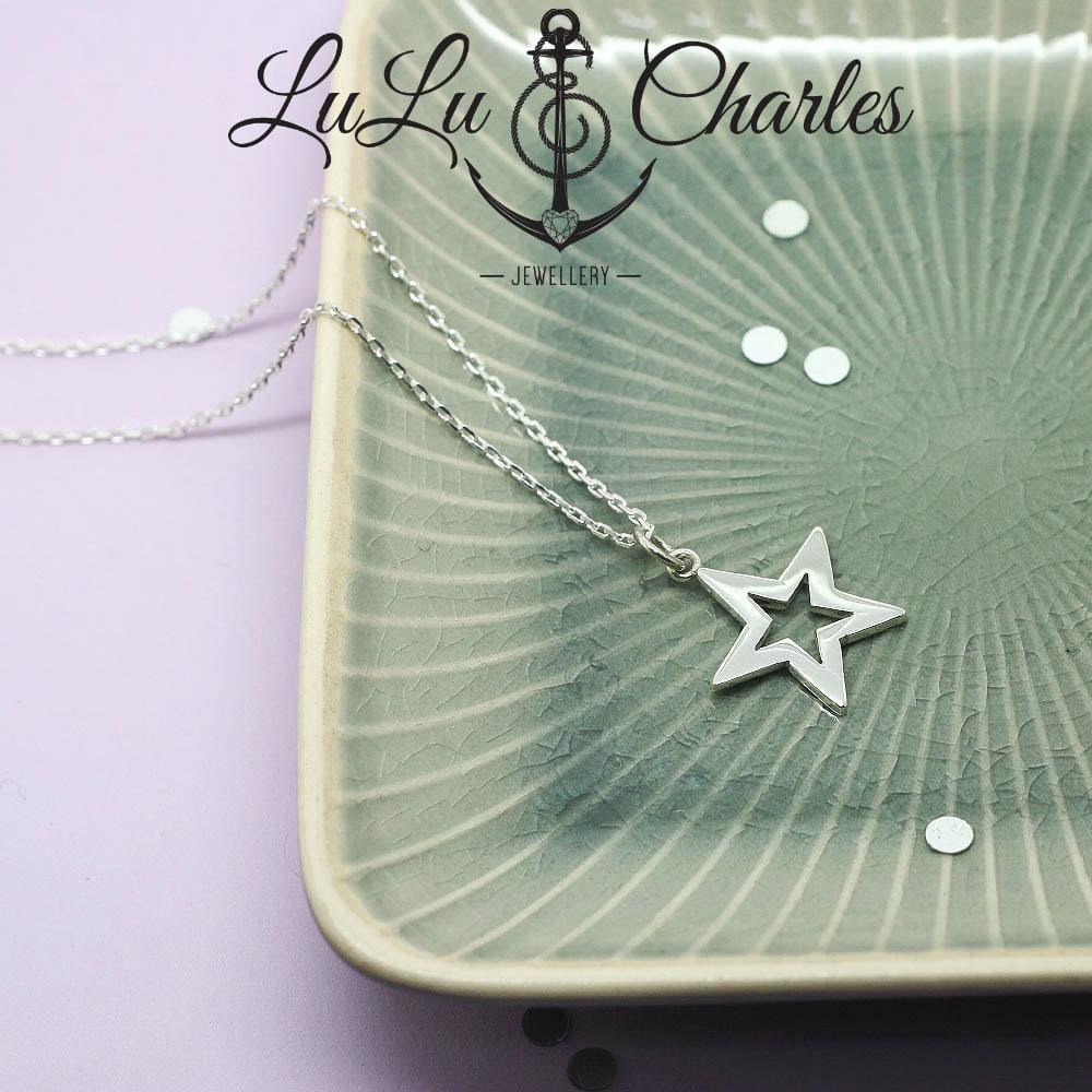 Handmade Sterling Silver Open Star Necklace