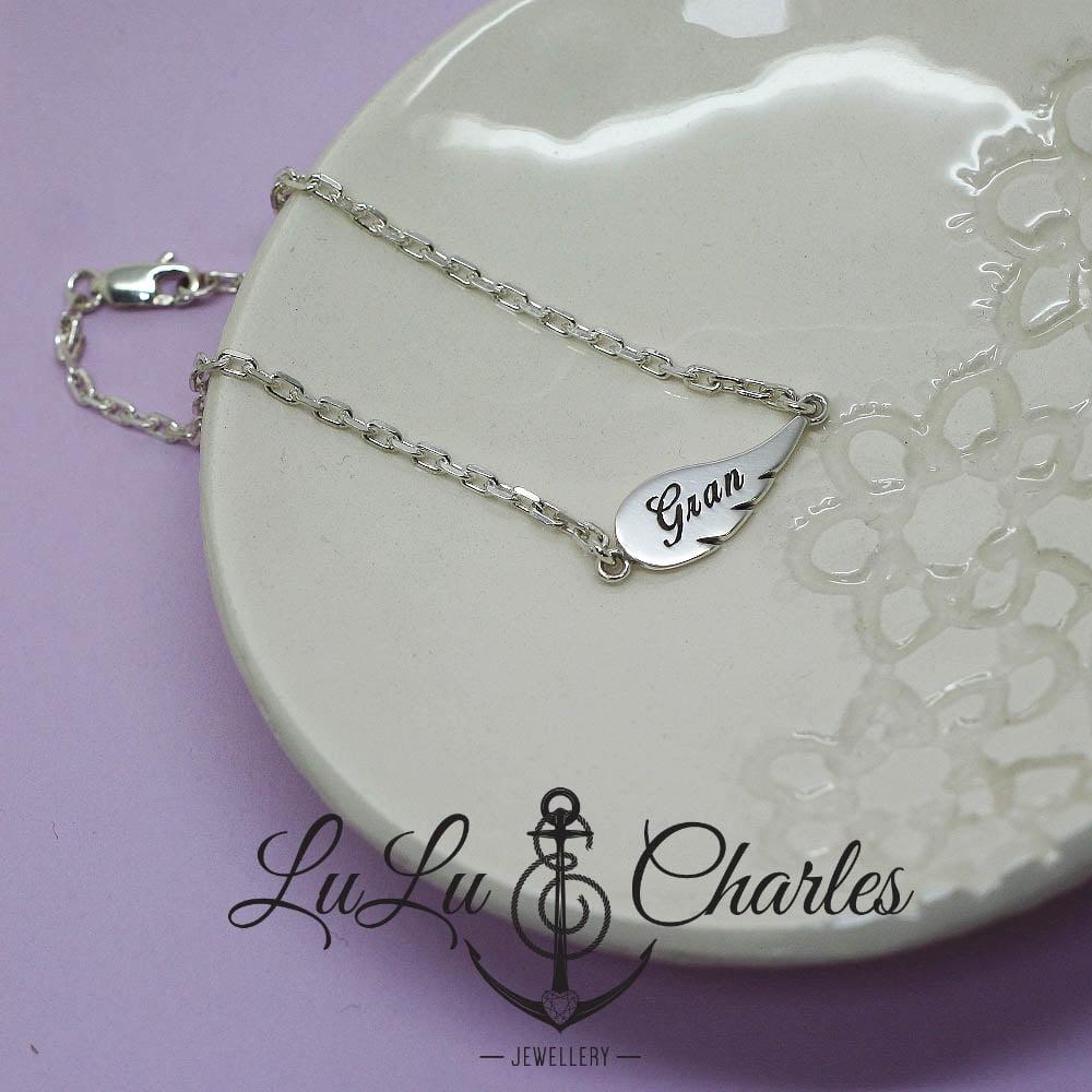 Sterling Silver Personalised Angel Wing Bracelet