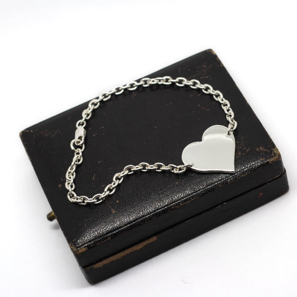 Personalised Heart Bracelet, Handmade in Sterling Silver