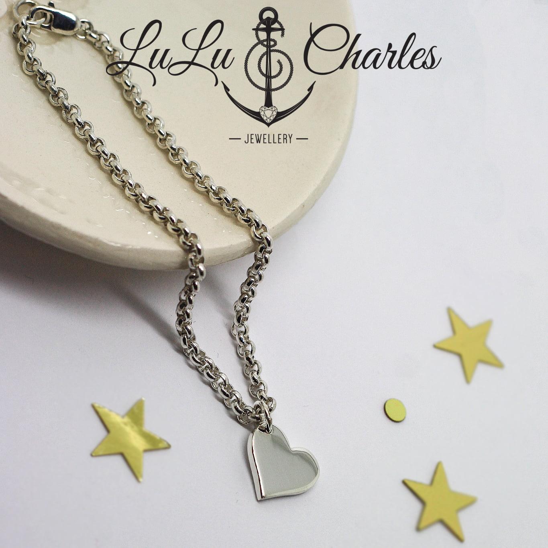 Handmade Sterling Silver Heart Charm Bracelet