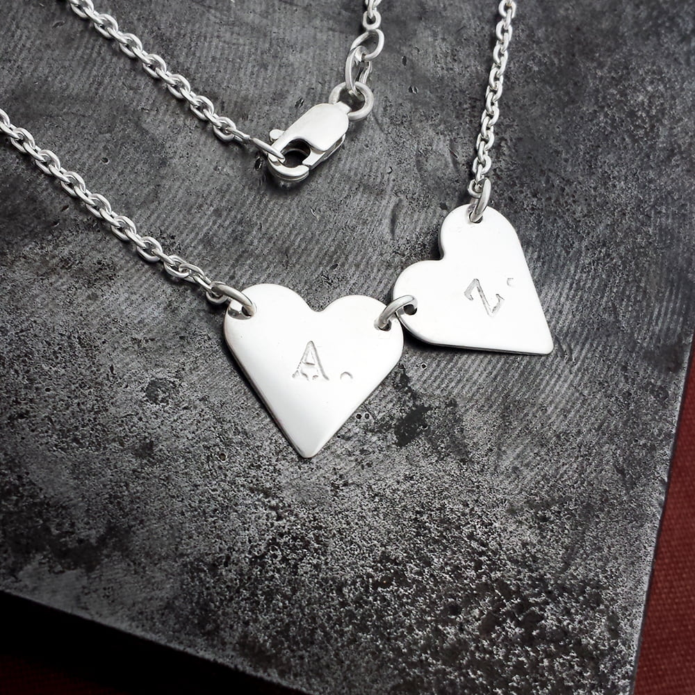 Personalised Heart Bunting Necklace, Handmade in Sterling Silver