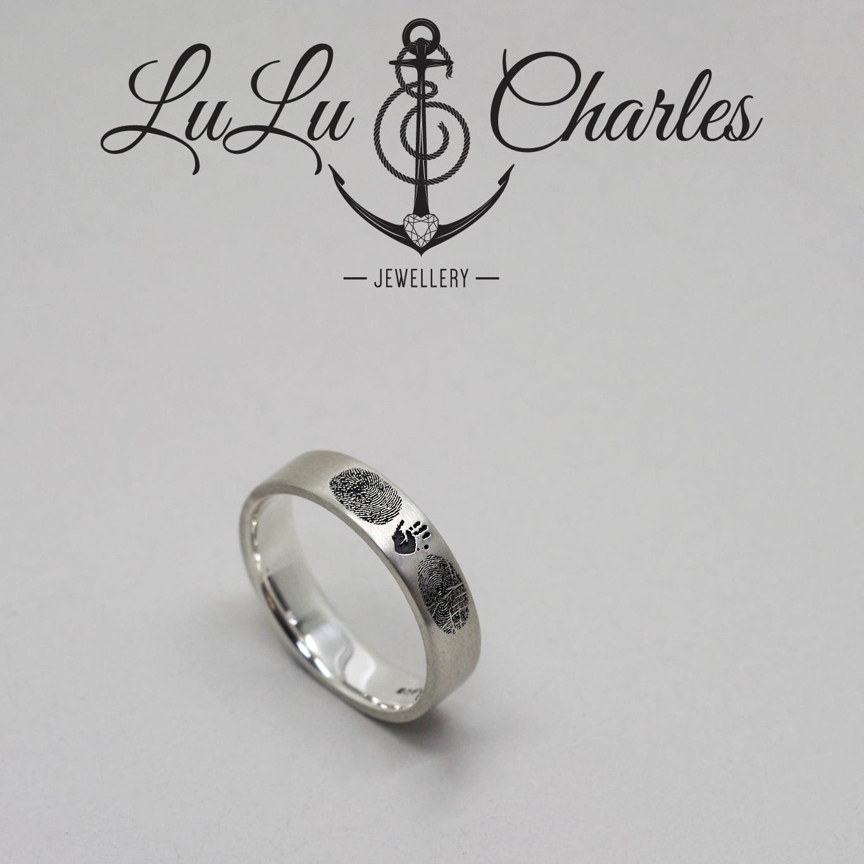 Handmade Argentium Silver Personalised Family Fingerprint, Hand & Footprint Ring