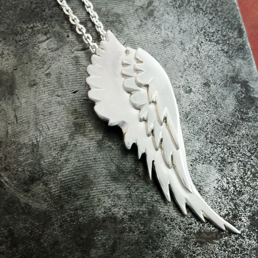 Layered Angel Wing Necklace, Handmade in Sterling Silver
