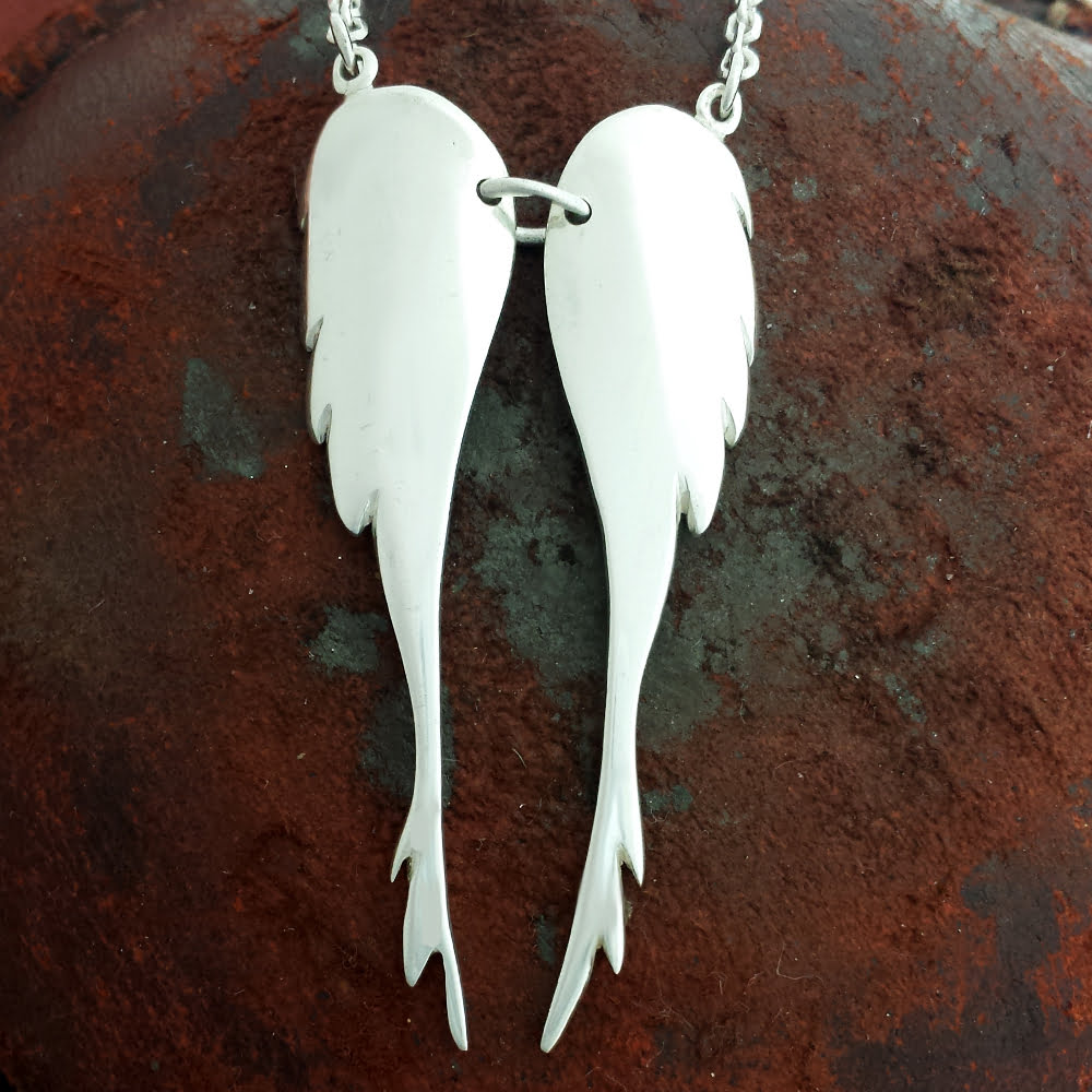 Large Angel Wing Necklace, Handmade in Sterling Silver