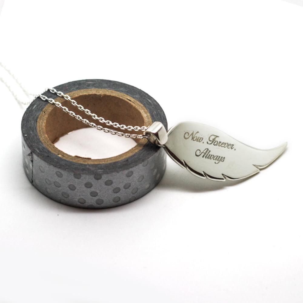 Handmade Silver Personalised Angel Wing Necklace – Medium