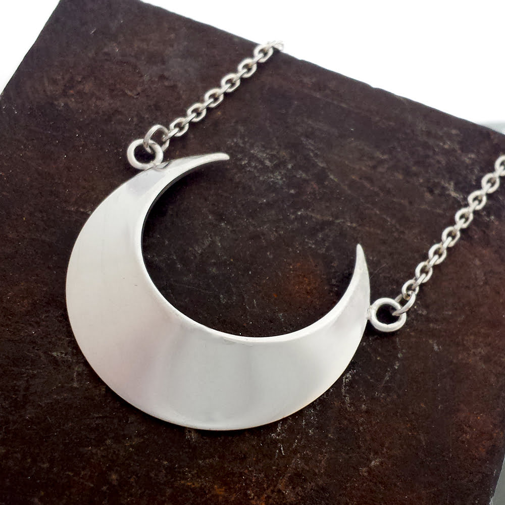 Crescent Moon Necklace, Handmade in Sterling Silver