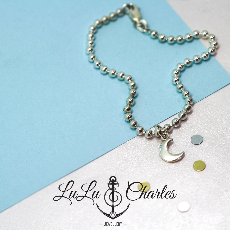 Shoot for the Moon, Handmade Sterling Silver Charm Bracelet