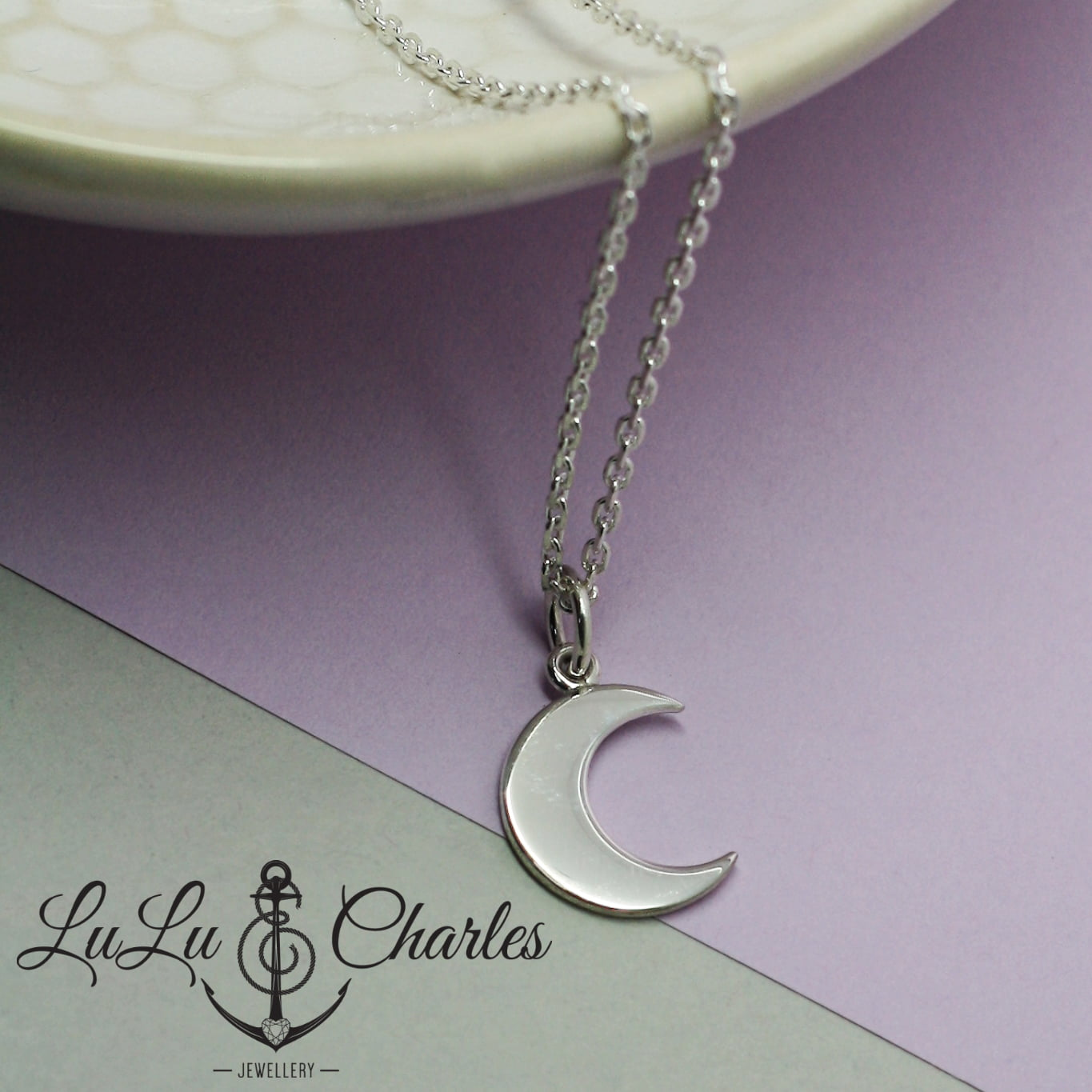 Handmade Sterling Silver Moon Charm Necklace