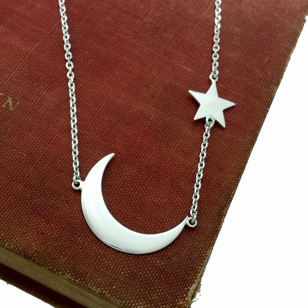 Moon & Stars Necklace, Handmade in Sterling Silver