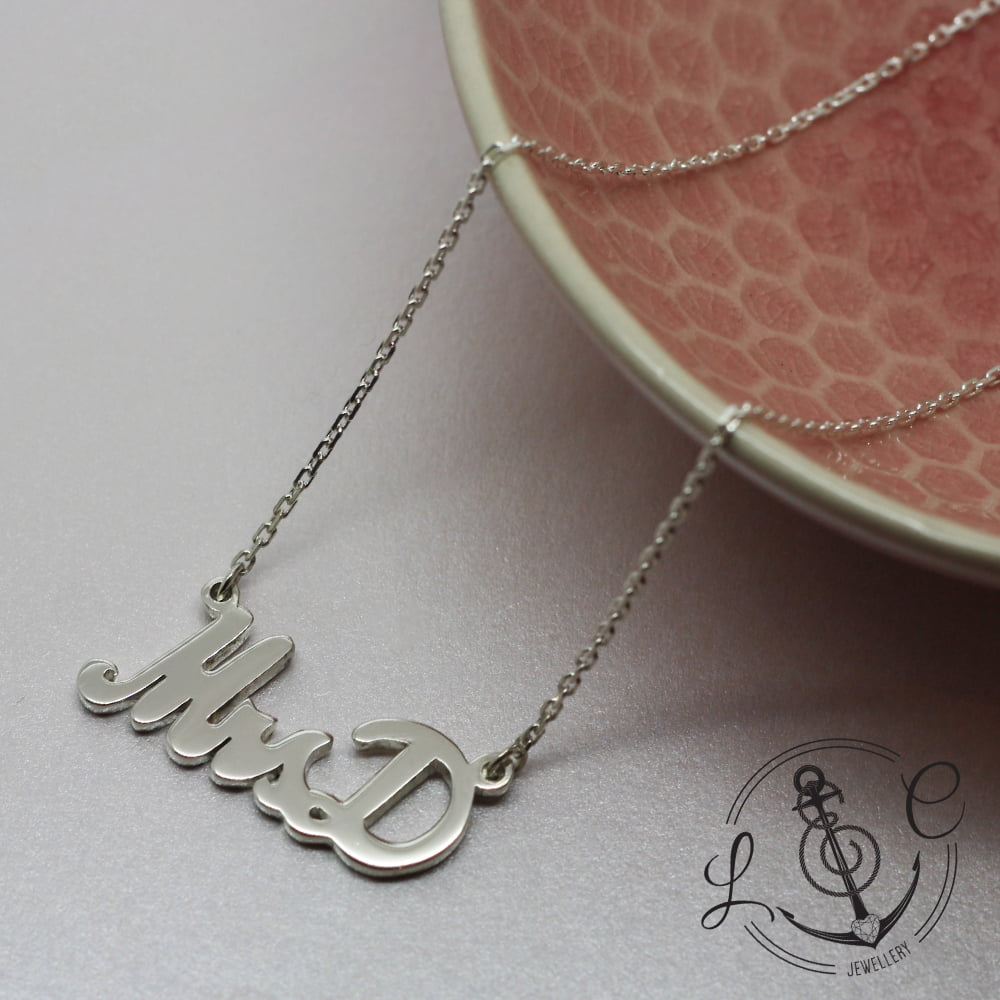 Personalised Mrs Necklace, Handmade in Sterling Silver